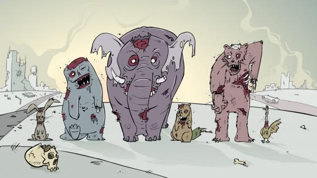 springtime zombie animals illustratie